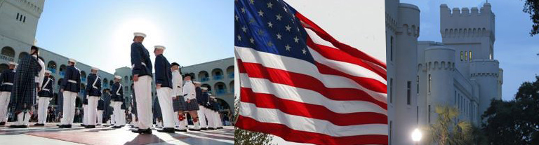 Cadets in courtyard, US flag, architectural detail